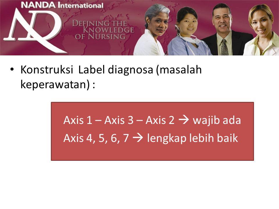 Konstruksi Label diagnosa (masalah keperawatan) : Axis 1 – Axis 3 – Axis 2  wajib ada Axis 4, 5, 6, 7  lengkap lebih baik