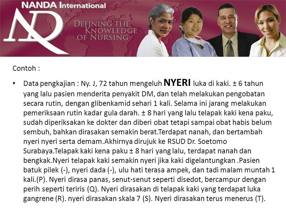 Contoh : Data pengkajian : Ny. J, 72 tahun mengeluh NYERI luka di kaki. ± 6 tahun yang lalu pasien menderita penyakit DM, dan telah melakukan pengobat