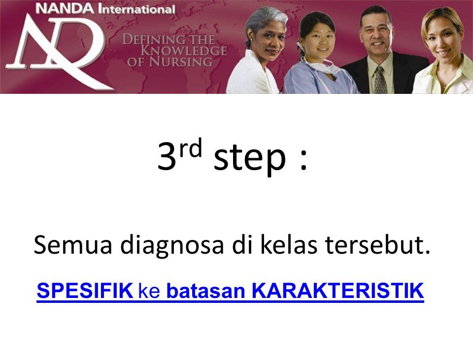 3 rd step : Semua diagnosa di kelas tersebut. SPESIFIK ke batasan KARAKTERISTIK