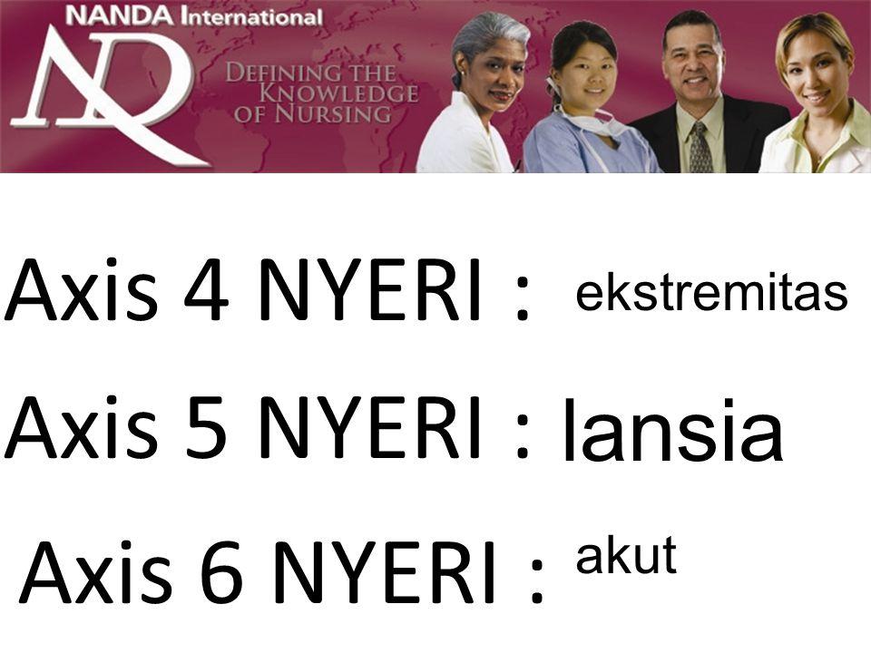Axis 4 NYERI : ekstremitas Axis 5 NYERI : lansia Axis 6 NYERI : akut