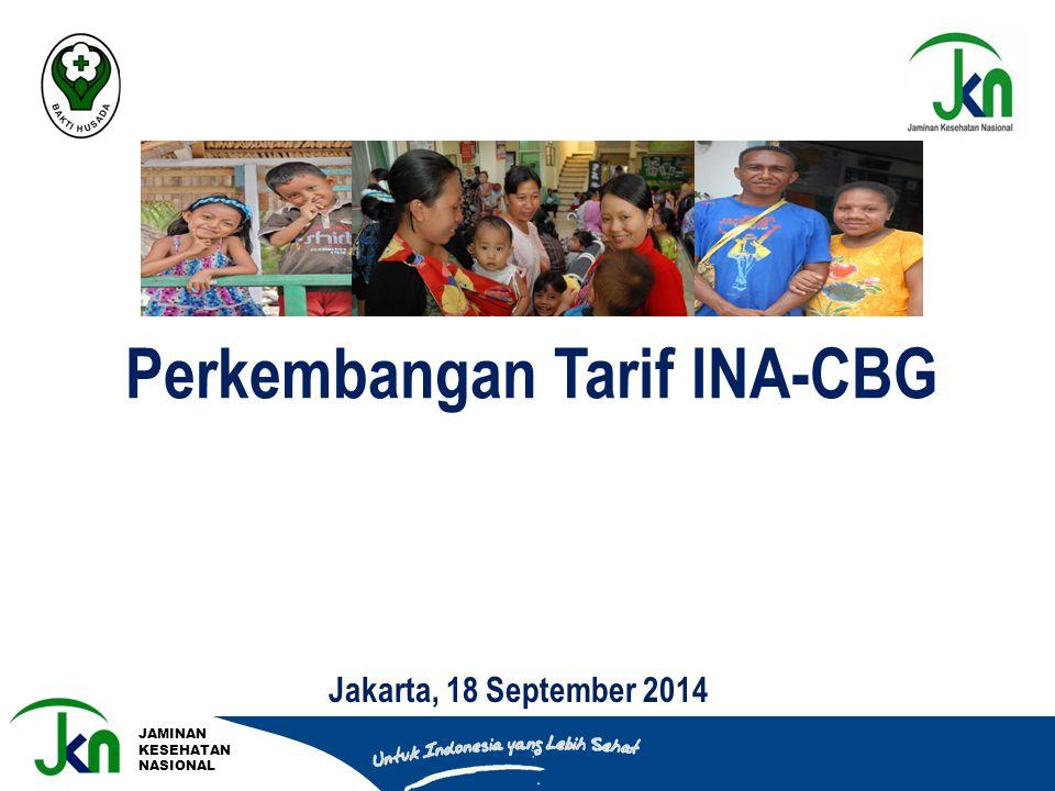 JAMINAN KESEHATAN NASIONAL Perkembangan Tarif INA-CBG Jakarta, 18 September 2014