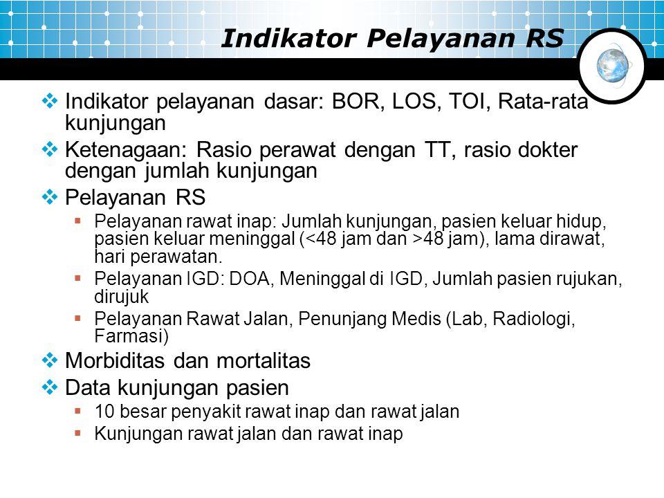 Indikator Pelayanan RS  Indikator pelayanan dasar: BOR, LOS, TOI, Rata-rata kunjungan  Ketenagaan: Rasio perawat dengan TT, rasio dokter dengan juml