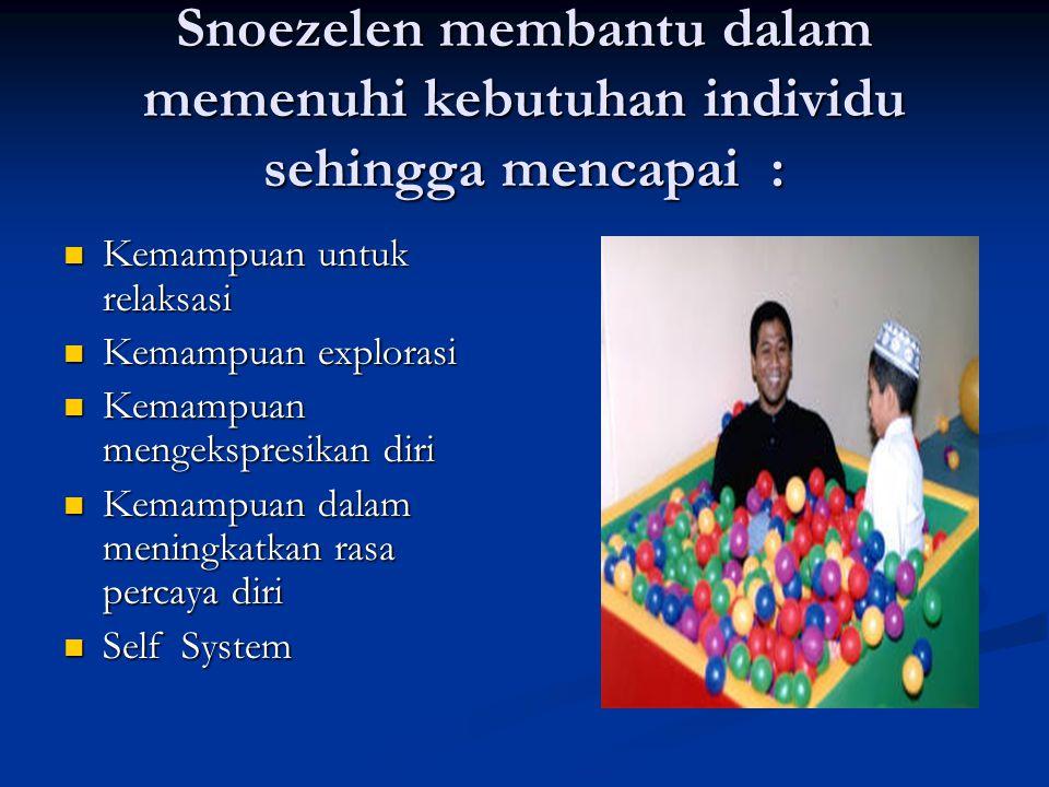 Snoezelen membantu dalam memenuhi kebutuhan individu sehingga mencapai : Kemampuan untuk relaksasi Kemampuan untuk relaksasi Kemampuan explorasi Kemam