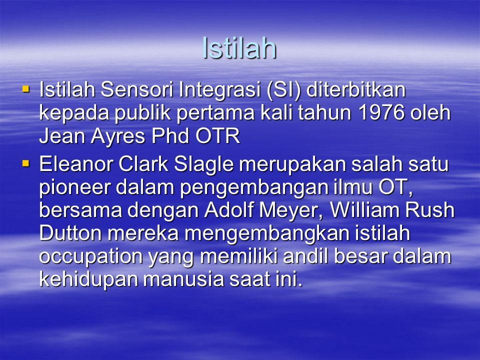 Istilah  Istilah Sensori Integrasi (SI) diterbitkan kepada publik pertama kali tahun 1976 oleh Jean Ayres Phd OTR  Eleanor Clark Slagle merupakan sa