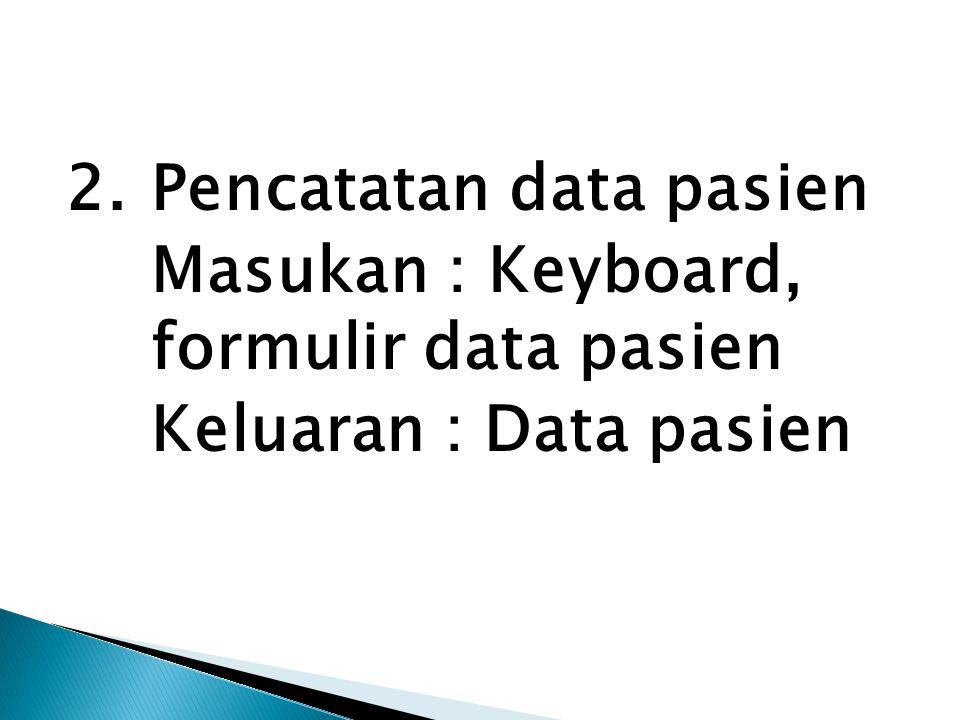 2.Pencatatan data pasien Masukan : Keyboard, formulir data pasien Keluaran : Data pasien