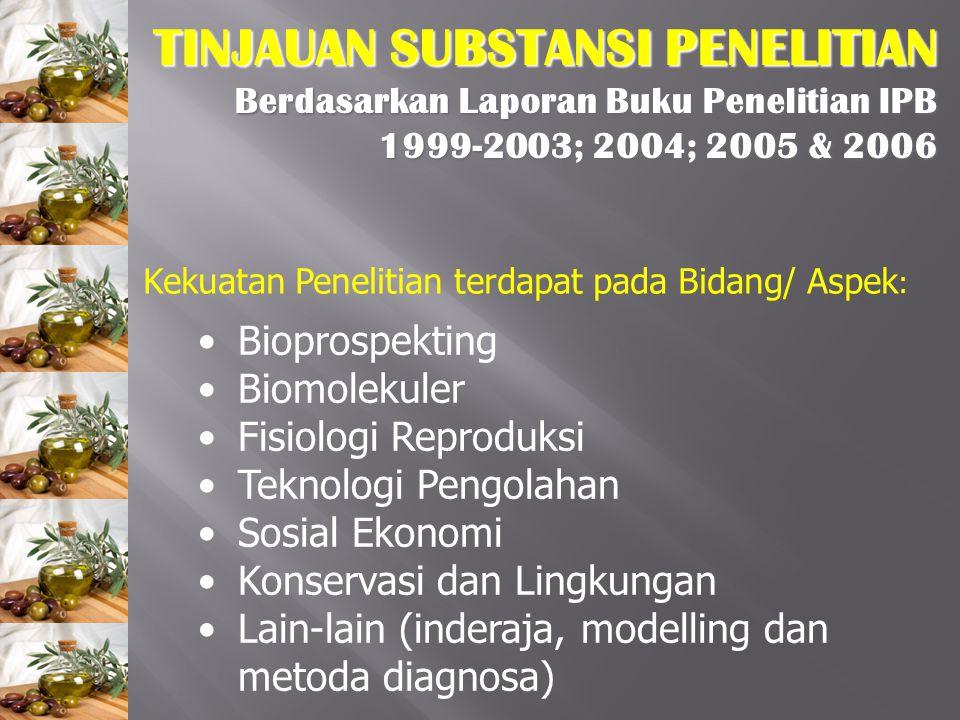 TINJAUAN SUBSTANSI PENELITIAN Berdasarkan Laporan Buku Penelitian IPB 1999-2003; 2004; 2005 & 2006 Kekuatan Penelitian terdapat pada Bidang/ Aspek : B