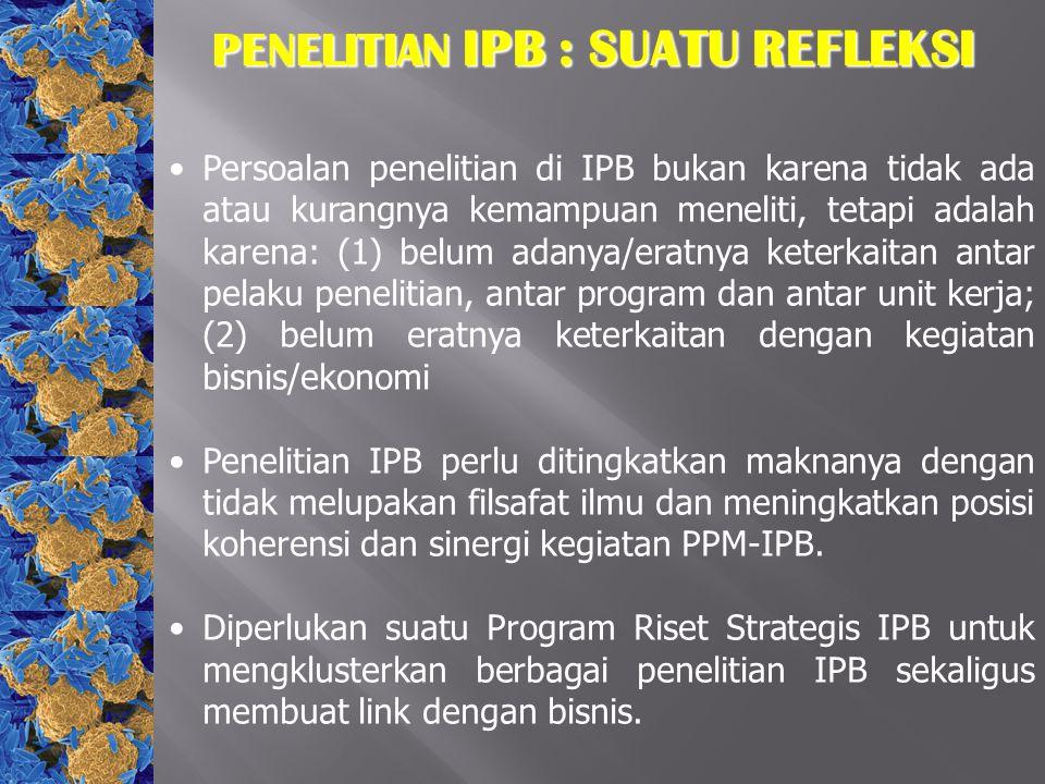 PENELITIAN IPB : SUATU REFLEKSI Persoalan penelitian di IPB bukan karena tidak ada atau kurangnya kemampuan meneliti, tetapi adalah karena: (1) belum