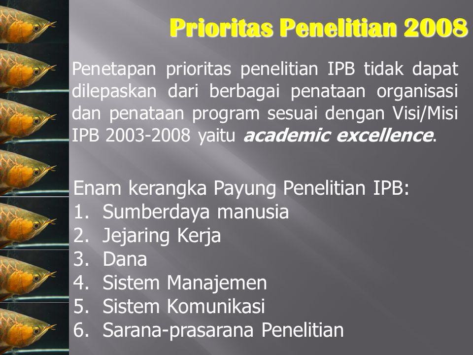 Prioritas Penelitian 2008 Penetapan prioritas penelitian IPB tidak dapat dilepaskan dari berbagai penataan organisasi dan penataan program sesuai deng