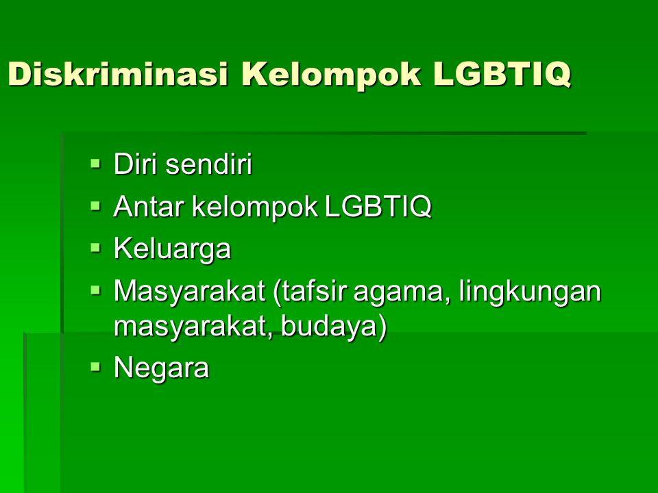 Diskriminasi Kelompok LGBTIQ  Diri sendiri  Antar kelompok LGBTIQ  Keluarga  Masyarakat (tafsir agama, lingkungan masyarakat, budaya)  Negara