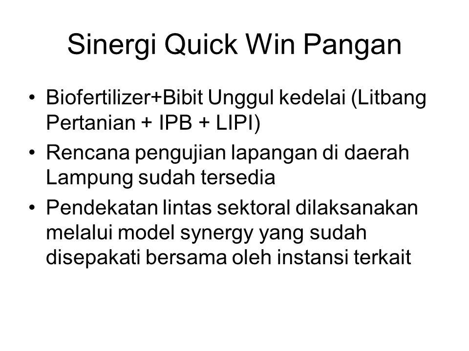 Sinergi Quick Win Pangan Biofertilizer+Bibit Unggul kedelai (Litbang Pertanian + IPB + LIPI) Rencana pengujian lapangan di daerah Lampung sudah tersed