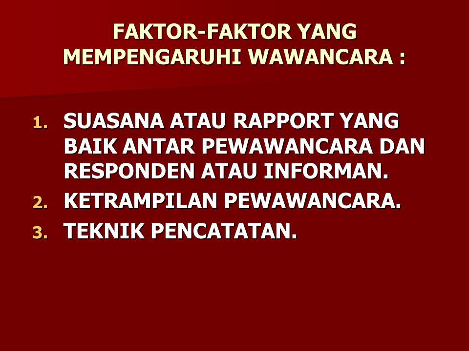 FAKTOR-FAKTOR YANG MEMPENGARUHI WAWANCARA : 1.