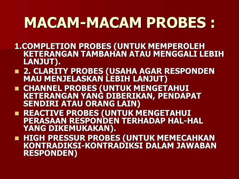 MACAM-MACAM PROBES : 1.COMPLETION PROBES (UNTUK MEMPEROLEH KETERANGAN TAMBAHAN ATAU MENGGALI LEBIH LANJUT).
