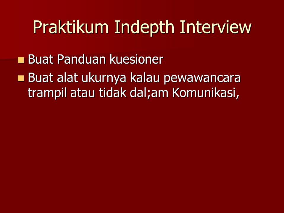 Praktikum Indepth Interview Buat Panduan kuesioner Buat Panduan kuesioner Buat alat ukurnya kalau pewawancara trampil atau tidak dal;am Komunikasi, Buat alat ukurnya kalau pewawancara trampil atau tidak dal;am Komunikasi,