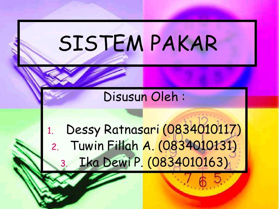 SISTEM PAKAR Disusun Oleh : 1. 1. Dessy Ratnasari (0834010117) 2. 2. Tuwin Fillah A. (0834010131) 3. 3. Ika Dewi P. (0834010163)
