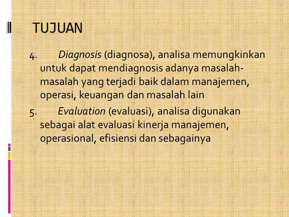 TUJUAN 4. Diagnosis (diagnosa), analisa memungkinkan untuk dapat mendiagnosis adanya masalah- masalah yang terjadi baik dalam manajemen, operasi, keua