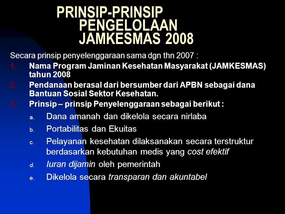 PRINSIP-PRINSIP PENGELOLAAN JAMKESMAS 2008 Secara prinsip penyelenggaraan sama dgn thn 2007 : 1.Nama Program Jaminan Kesehatan Masyarakat (JAMKESMAS)
