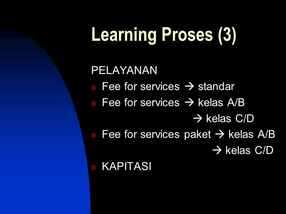 Learning Proses (3) PELAYANAN Fee for services  standar Fee for services  kelas A/B  kelas C/D Fee for services paket  kelas A/B  kelas C/D KAPITASI