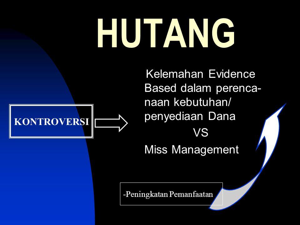 HUTANG KONTROVERSI Kelemahan Evidence Based dalam perenca- naan kebutuhan/ penyediaan Dana VS Miss Management -Peningkatan Pemanfaatan