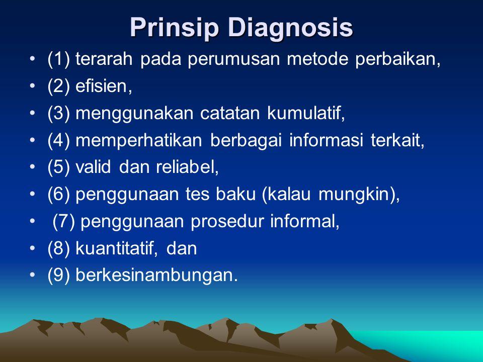 Prinsip Diagnosis (1) terarah pada perumusan metode perbaikan, (2) efisien, (3) menggunakan catatan kumulatif, (4) memperhatikan berbagai informasi te