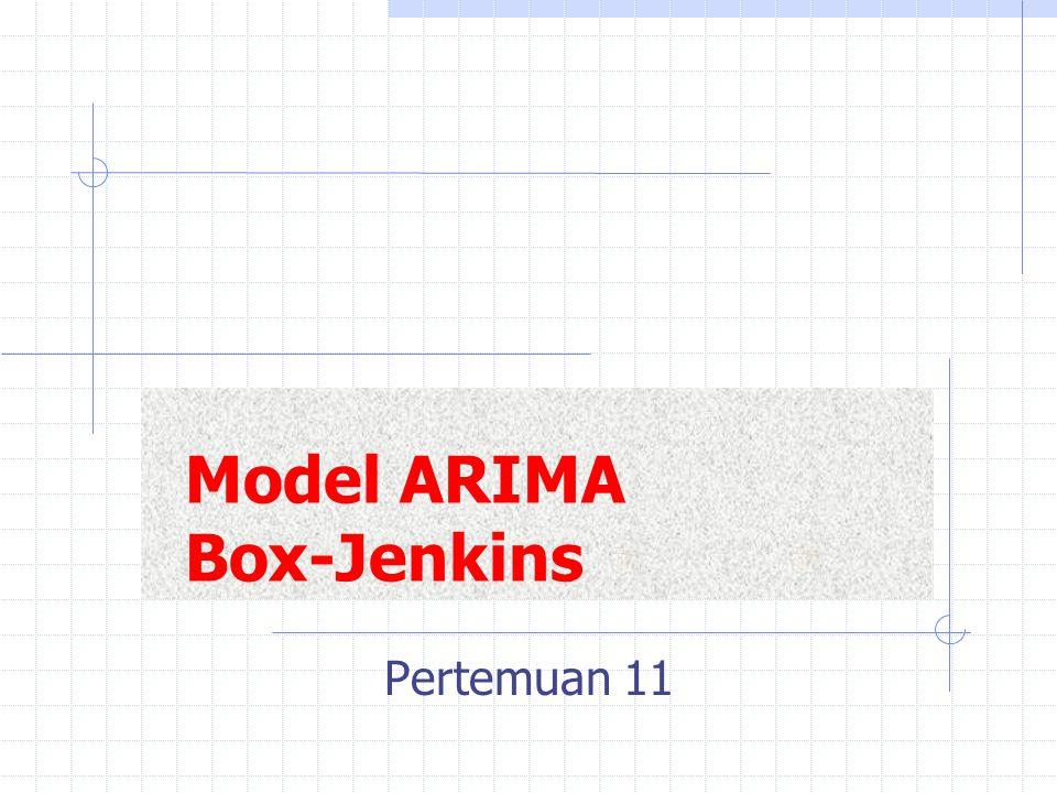 Metodologi Box-Jenkins: 1.Identifikasi model untuk sementara  data lampau digunakan untuk mengidentifikasi model ARIMA yang sesuai.