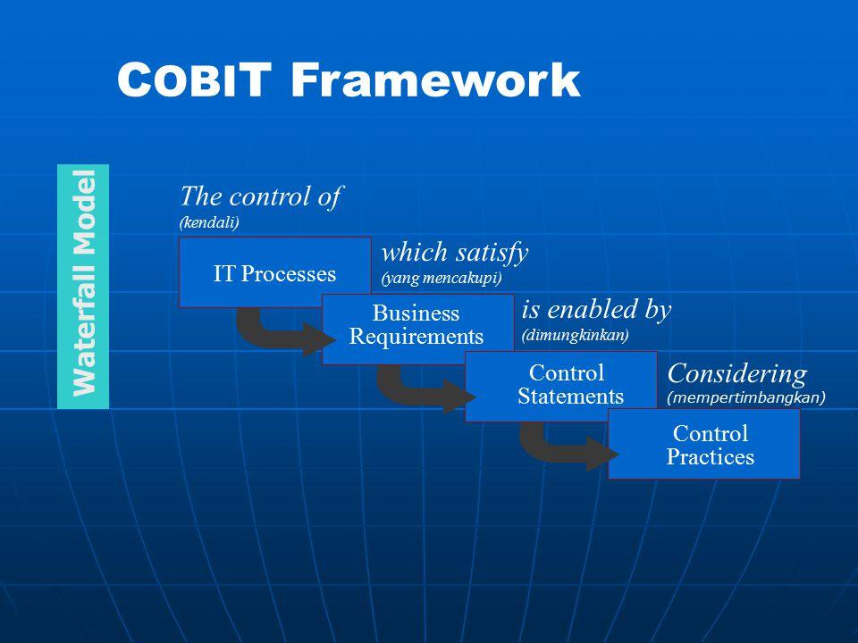 The control of (kendali) IT Processes which satisfy (yang mencakupi) is enabled by (dimungkinkan) Control Statements Considering (mempertimbangkan) Co