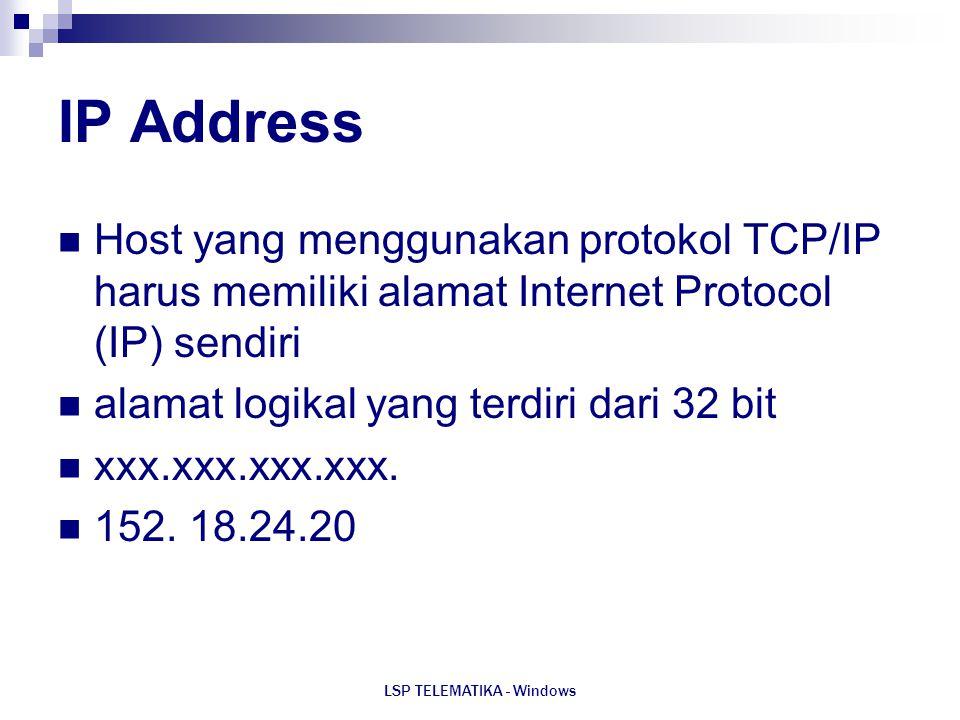 LSP TELEMATIKA - Windows IP Address Host yang menggunakan protokol TCP/IP harus memiliki alamat Internet Protocol (IP) sendiri alamat logikal yang ter