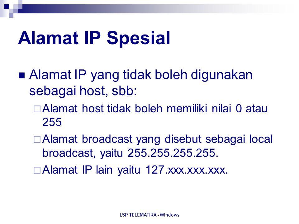 LSP TELEMATIKA - Windows Alamat IP Spesial Alamat IP yang tidak boleh digunakan sebagai host, sbb:  Alamat host tidak boleh memiliki nilai 0 atau 255