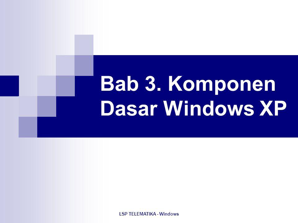 LSP TELEMATIKA - Windows Bab 3. Komponen Dasar Windows XP