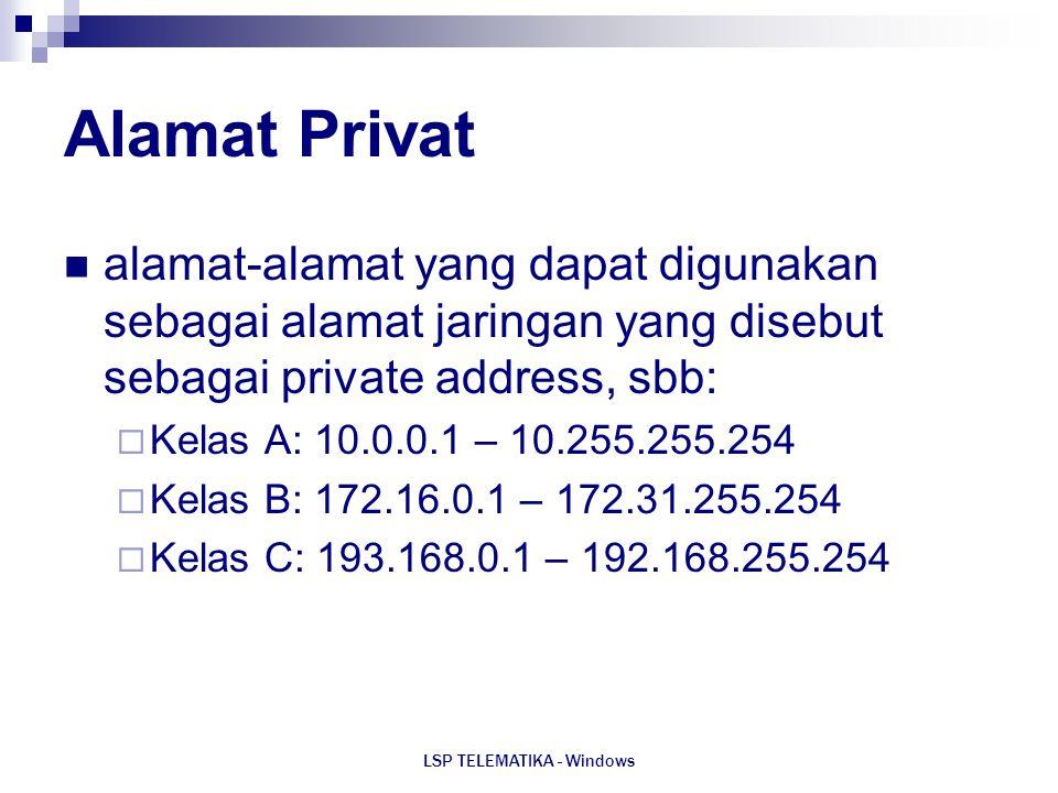 LSP TELEMATIKA - Windows Alamat Privat alamat-alamat yang dapat digunakan sebagai alamat jaringan yang disebut sebagai private address, sbb:  Kelas A