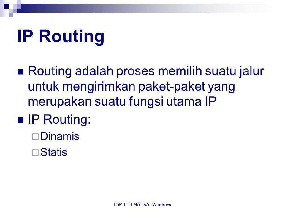 LSP TELEMATIKA - Windows IP Routing Routing adalah proses memilih suatu jalur untuk mengirimkan paket-paket yang merupakan suatu fungsi utama IP IP Ro