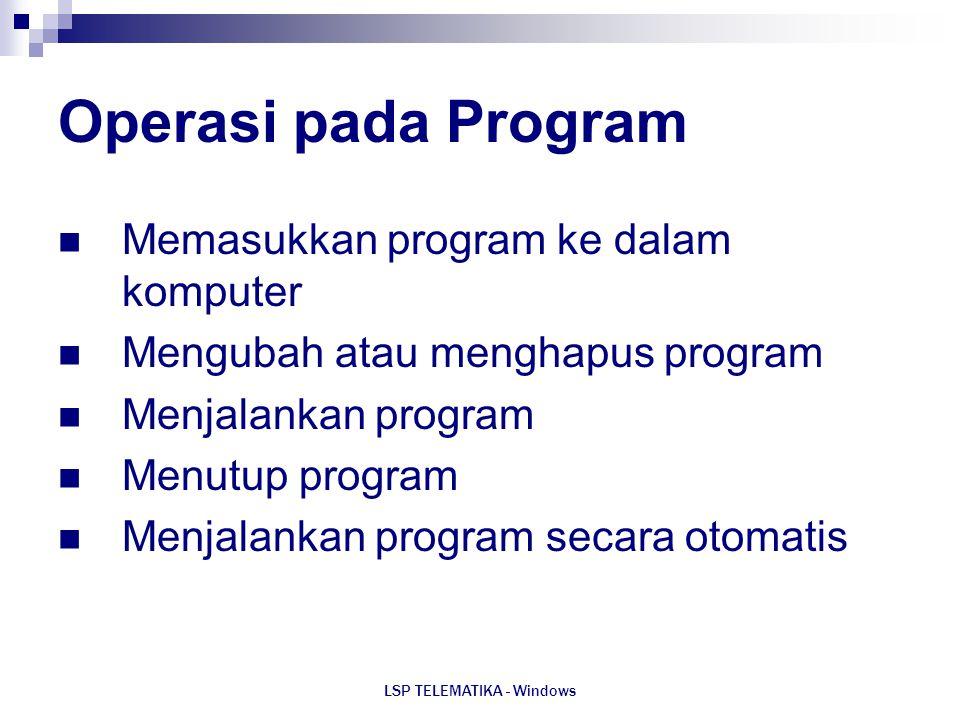LSP TELEMATIKA - Windows Operasi pada Program Memasukkan program ke dalam komputer Mengubah atau menghapus program Menjalankan program Menutup program