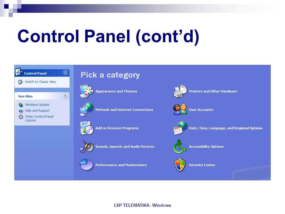 LSP TELEMATIKA - Windows Control Panel (cont'd)
