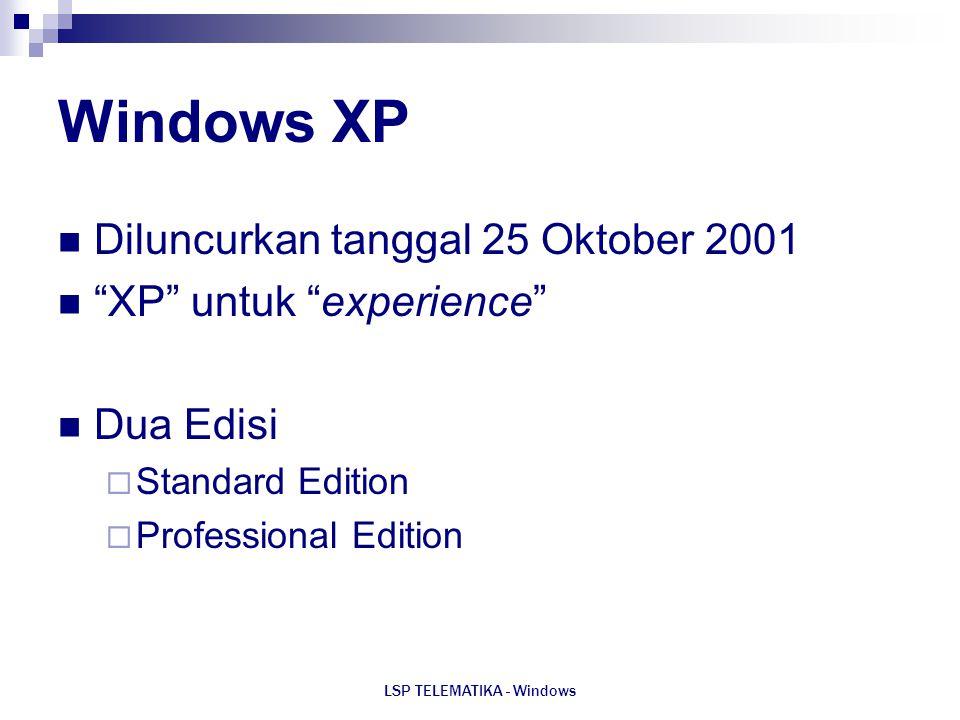 "LSP TELEMATIKA - Windows Windows XP Diluncurkan tanggal 25 Oktober 2001 ""XP"" untuk ""experience"" Dua Edisi  Standard Edition  Professional Edition"
