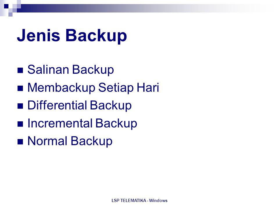 LSP TELEMATIKA - Windows Jenis Backup Salinan Backup Membackup Setiap Hari Differential Backup Incremental Backup Normal Backup