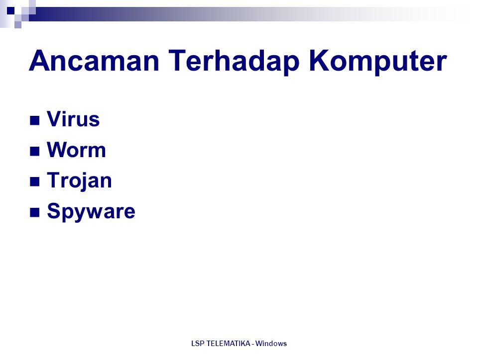LSP TELEMATIKA - Windows Ancaman Terhadap Komputer Virus Worm Trojan Spyware