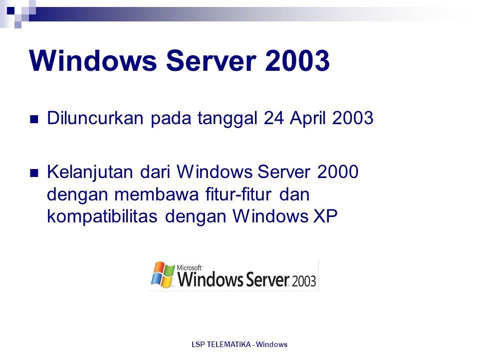 LSP TELEMATIKA - Windows Windows Server 2003 Diluncurkan pada tanggal 24 April 2003 Kelanjutan dari Windows Server 2000 dengan membawa fitur-fitur dan