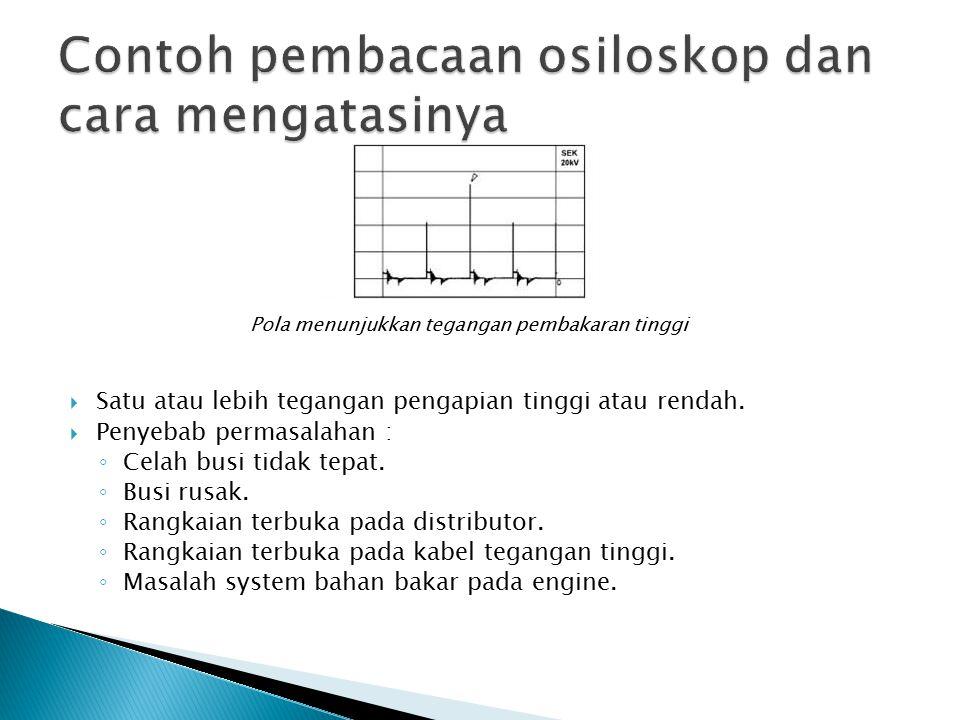 Pola menunjukkan tegangan pembakaran tinggi  Satu atau lebih tegangan pengapian tinggi atau rendah.  Penyebab permasalahan : ◦ Celah busi tidak tepa