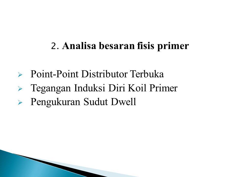 2. Analisa besaran fisis primer  Point-Point Distributor Terbuka  Tegangan Induksi Diri Koil Primer  Pengukuran Sudut Dwell