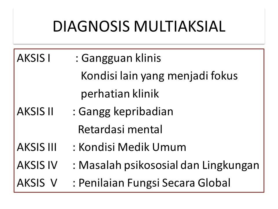 DIAGNOSIS MULTIAKSIAL AKSIS I : Gangguan klinis Kondisi lain yang menjadi fokus perhatian klinik AKSIS II: Gangg kepribadian Retardasi mental AKSIS III: Kondisi Medik Umum AKSIS IV: Masalah psikososial dan Lingkungan AKSIS V: Penilaian Fungsi Secara Global