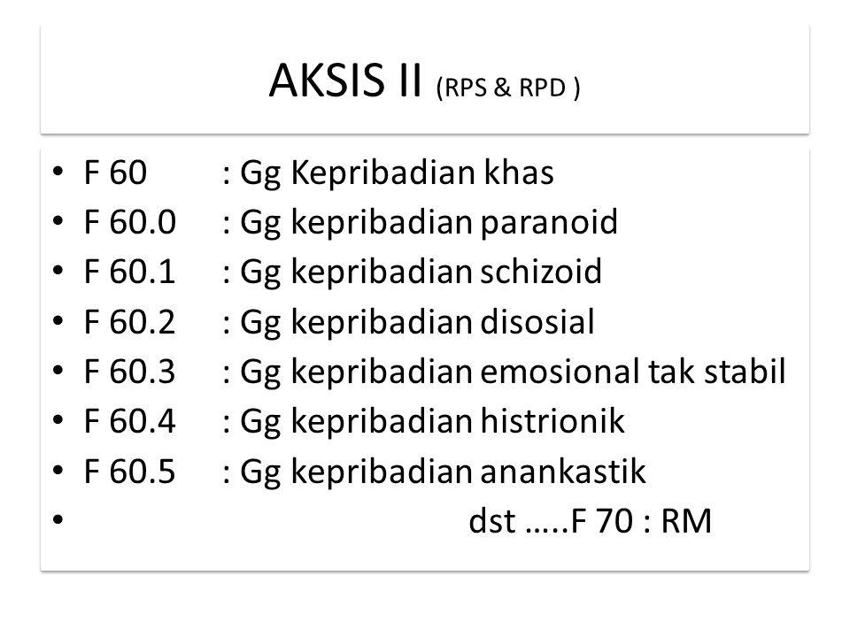 AKSIS II (RPS & RPD ) F 60: Gg Kepribadian khas F 60.0: Gg kepribadian paranoid F 60.1: Gg kepribadian schizoid F 60.2: Gg kepribadian disosial F 60.3: Gg kepribadian emosional tak stabil F 60.4: Gg kepribadian histrionik F 60.5: Gg kepribadian anankastik dst …..F 70 : RM F 60: Gg Kepribadian khas F 60.0: Gg kepribadian paranoid F 60.1: Gg kepribadian schizoid F 60.2: Gg kepribadian disosial F 60.3: Gg kepribadian emosional tak stabil F 60.4: Gg kepribadian histrionik F 60.5: Gg kepribadian anankastik dst …..F 70 : RM