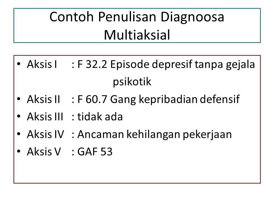 Contoh Penulisan Diagnoosa Multiaksial Aksis I: F 32.2 Episode depresif tanpa gejala psikotik Aksis II: F 60.7 Gang kepribadian defensif Aksis III: tidak ada Aksis IV: Ancaman kehilangan pekerjaan Aksis V: GAF 53
