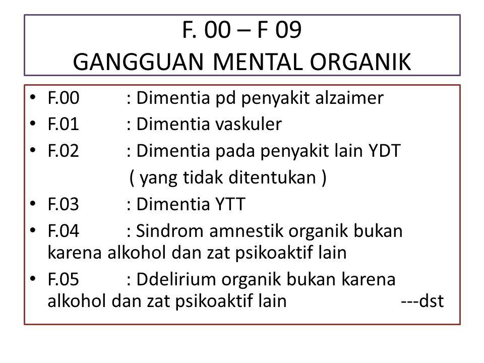 F. 00 – F 09 GANGGUAN MENTAL ORGANIK F.00: Dimentia pd penyakit alzaimer F.01: Dimentia vaskuler F.02: Dimentia pada penyakit lain YDT ( yang tidak di