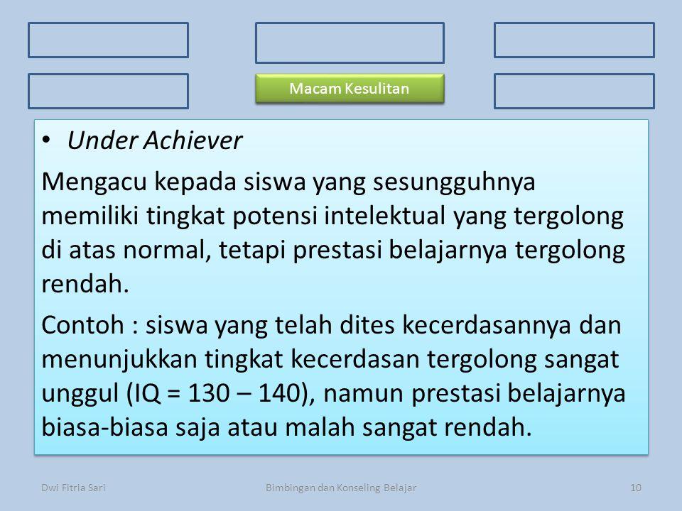 Konsep Dasar Faktor Penyebab 3 Kriteria Kesulitan Belajar 3 Kriteria Kesulitan Belajar Ciri-ciri Prosedur Macam-macam kesulitan Under Achiever Mengacu