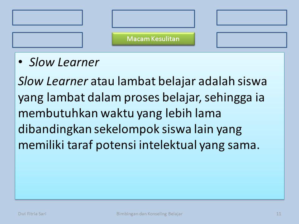 Konsep Dasar Faktor Penyebab 3 Kriteria Kesulitan Belajar 3 Kriteria Kesulitan Belajar Ciri-ciri Prosedur Macam-macam kesulitan Slow Learner Slow Lear