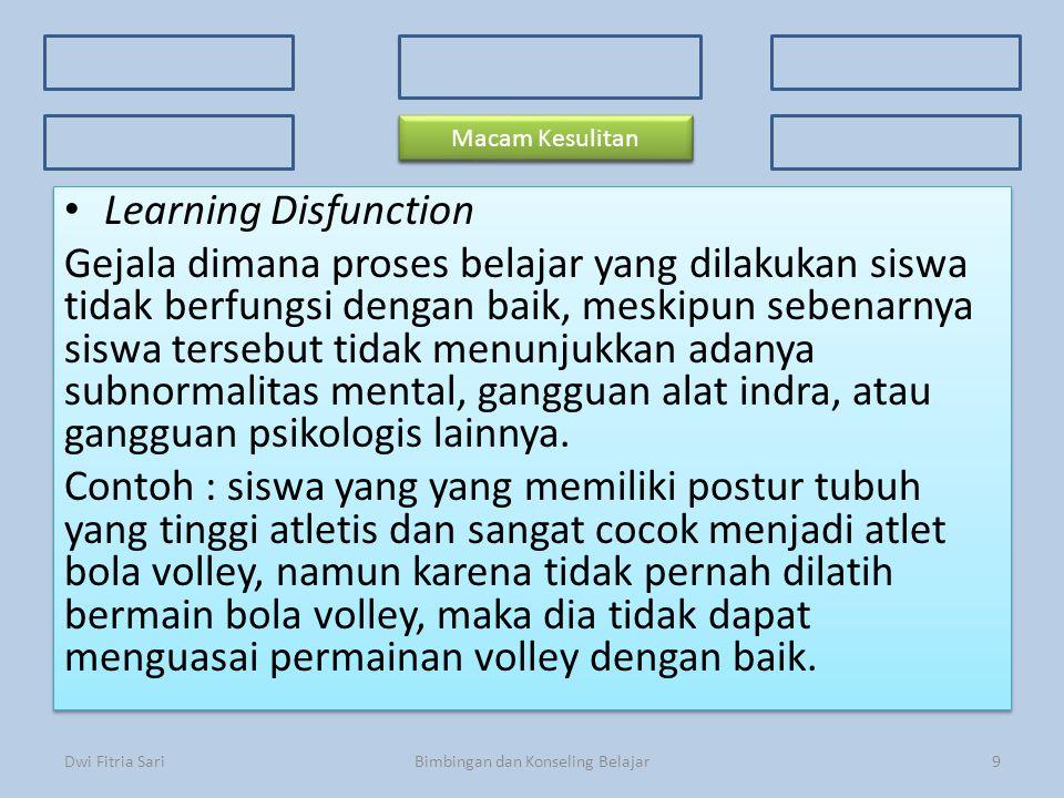 Konsep Dasar Faktor Penyebab 3 Kriteria Kesulitan Belajar 3 Kriteria Kesulitan Belajar Ciri-ciri Prosedur Macam-macam kesulitan Learning Disfunction G