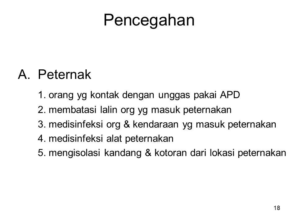 18 Pencegahan A.Peternak 1.orang yg kontak dengan unggas pakai APD 2.