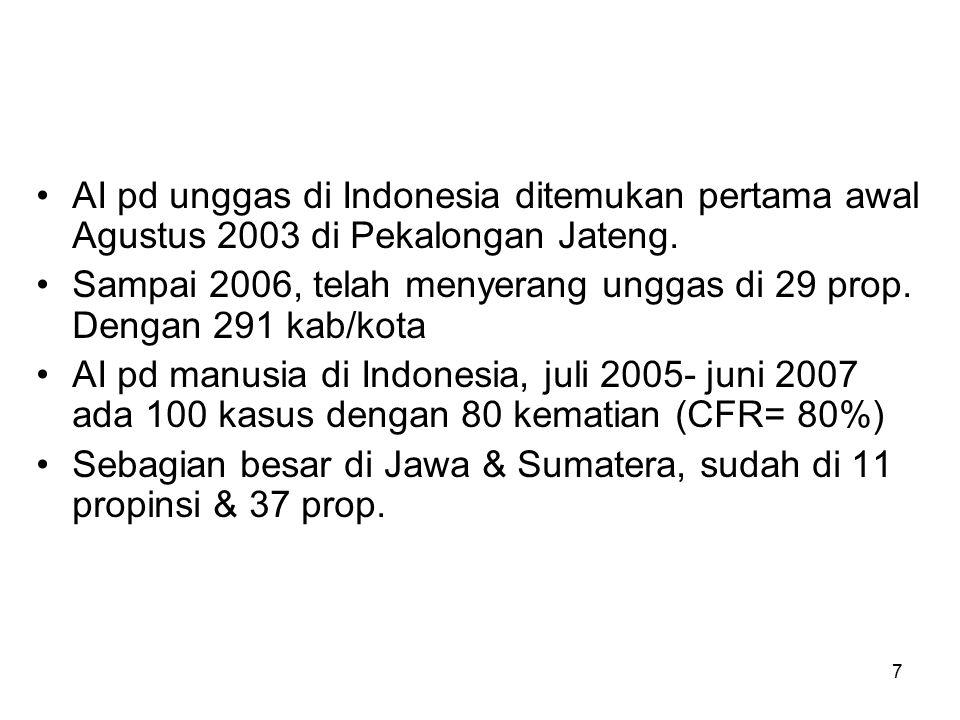 7 AI pd unggas di Indonesia ditemukan pertama awal Agustus 2003 di Pekalongan Jateng.