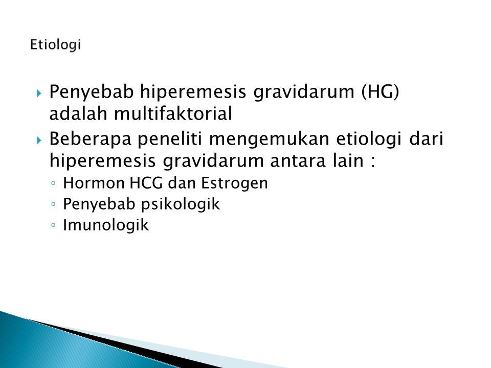  Penyebab hiperemesis gravidarum (HG) adalah multifaktorial  Beberapa peneliti mengemukan etiologi dari hiperemesis gravidarum antara lain : ◦ Hormo