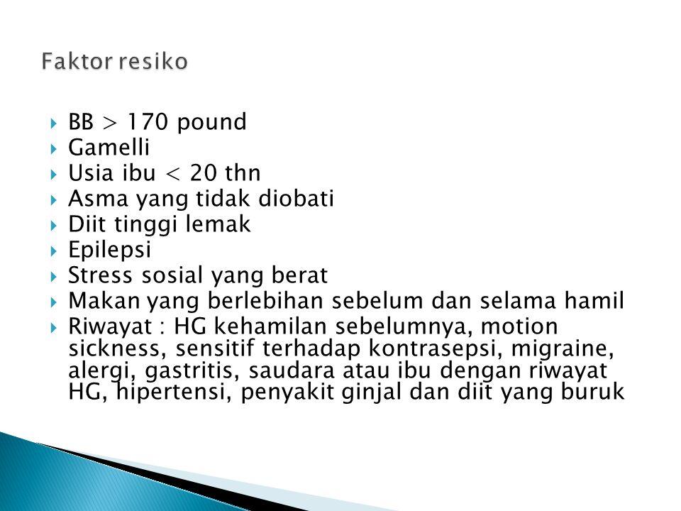  BB > 170 pound  Gamelli  Usia ibu < 20 thn  Asma yang tidak diobati  Diit tinggi lemak  Epilepsi  Stress sosial yang berat  Makan yang berleb