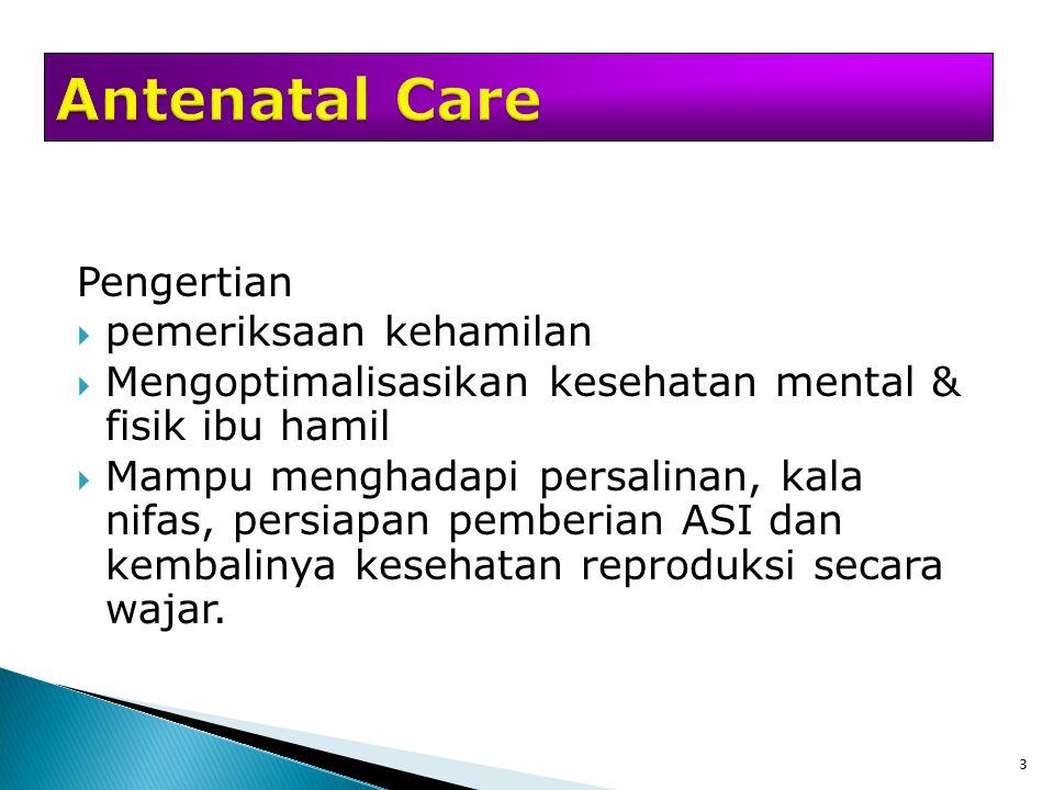 3 Pengertian  pemeriksaan kehamilan  Mengoptimalisasikan kesehatan mental & fisik ibu hamil  Mampu menghadapi persalinan, kala nifas, persiapan pem